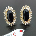 Stunning Earstuds with Zircon and Black Diamond Cut Center Stone